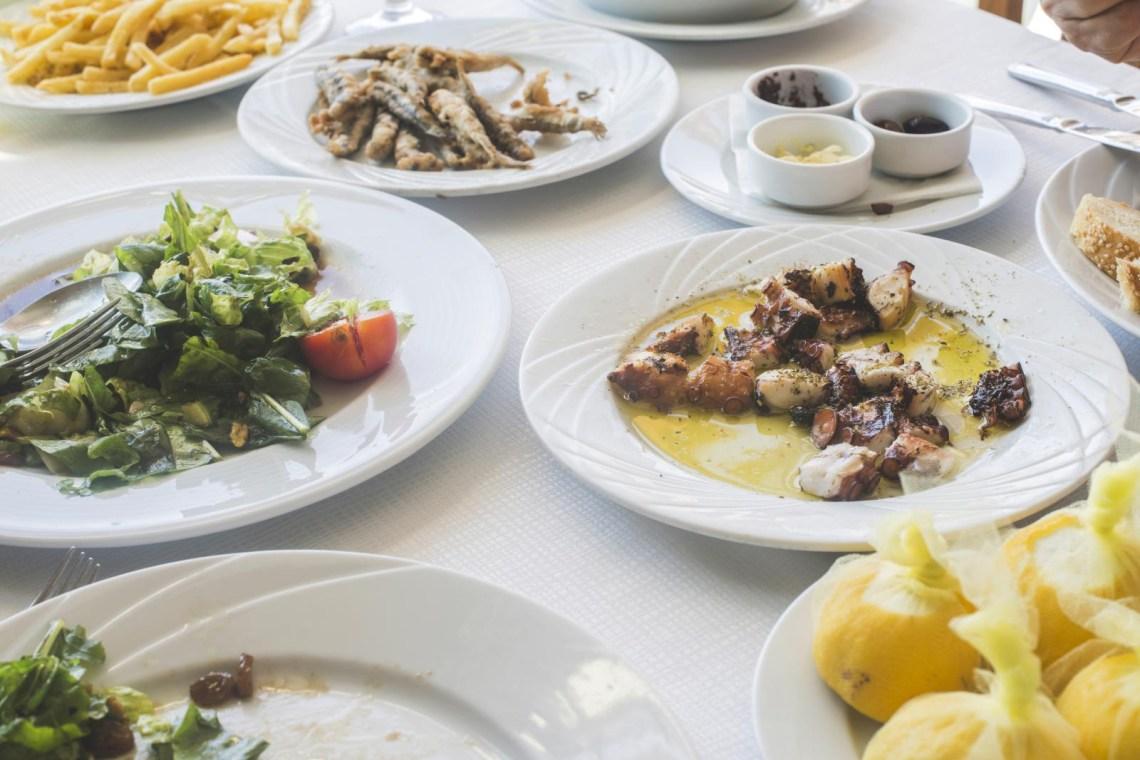 Greek food on table tavern