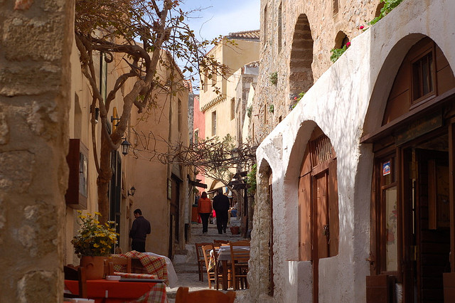 Robert Wallace The main street of the old medieval town of Monemvasia Flickr
