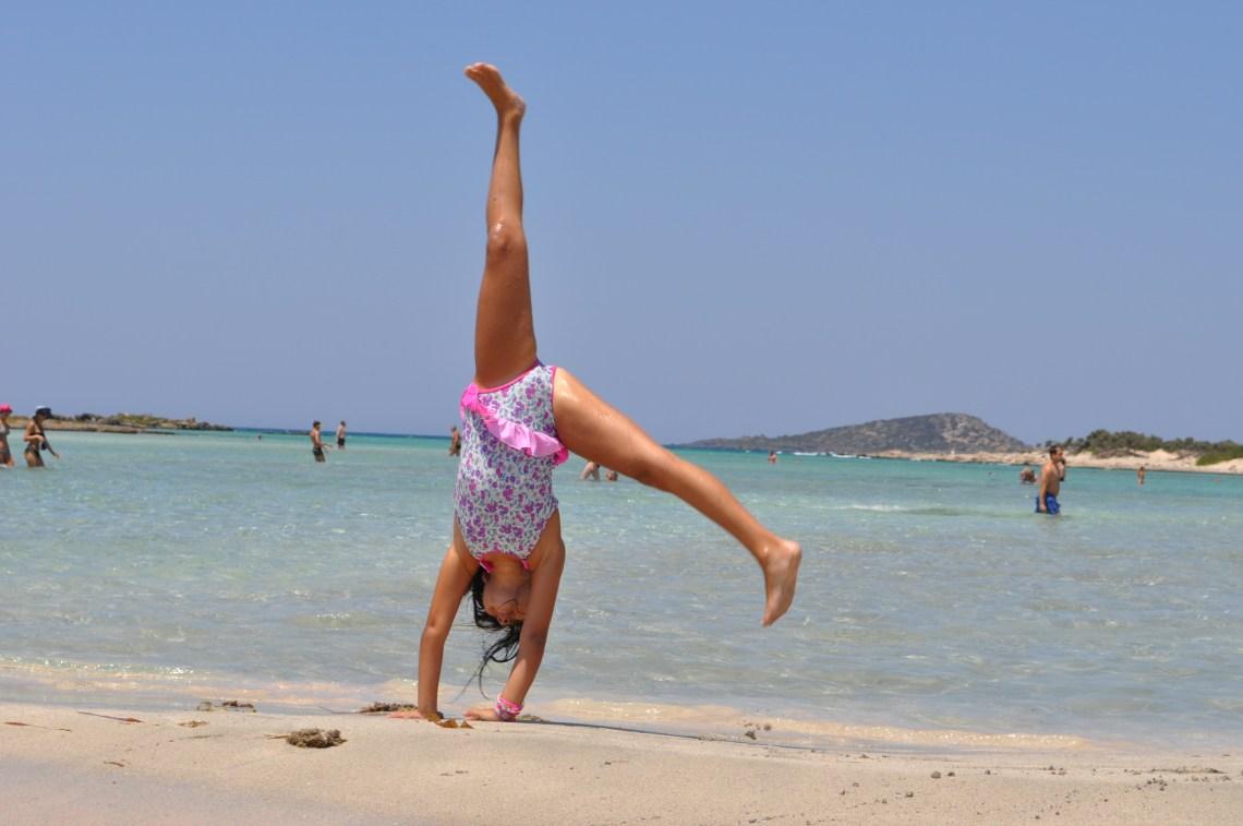 kid having fun at Elafonissi beach