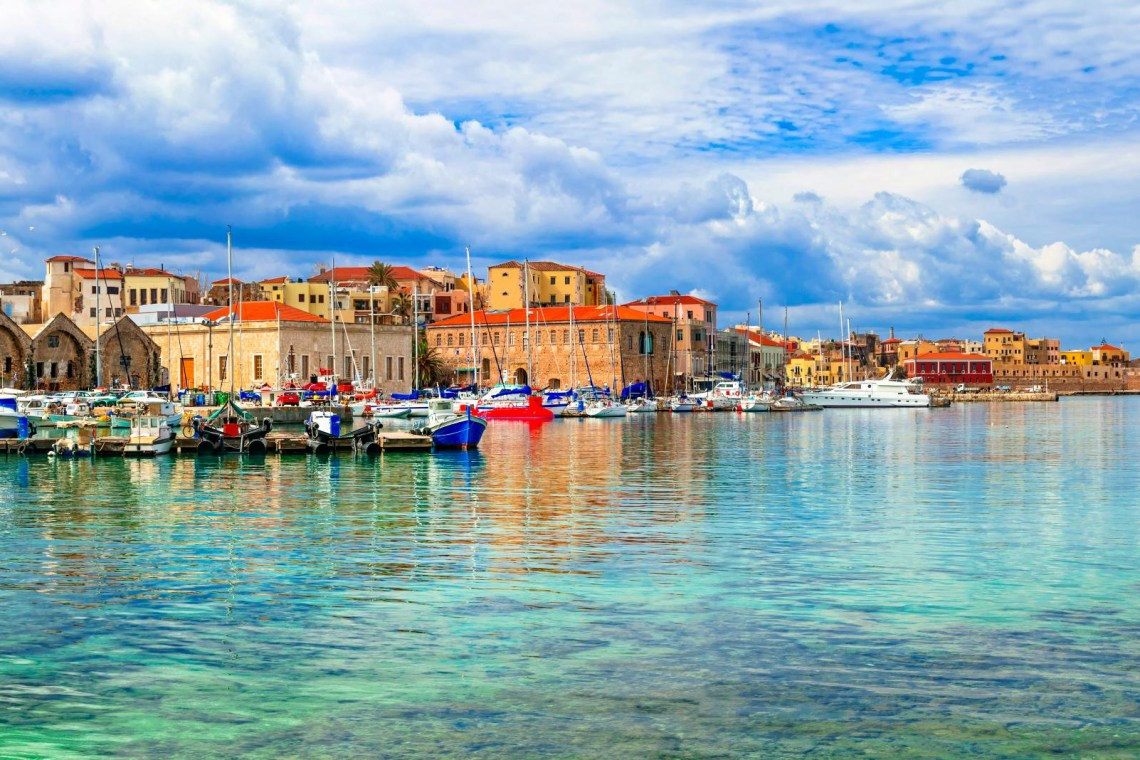 Chania port boats