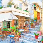 Plaka cafe at a narrow street