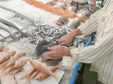 open fish market in Heraklion