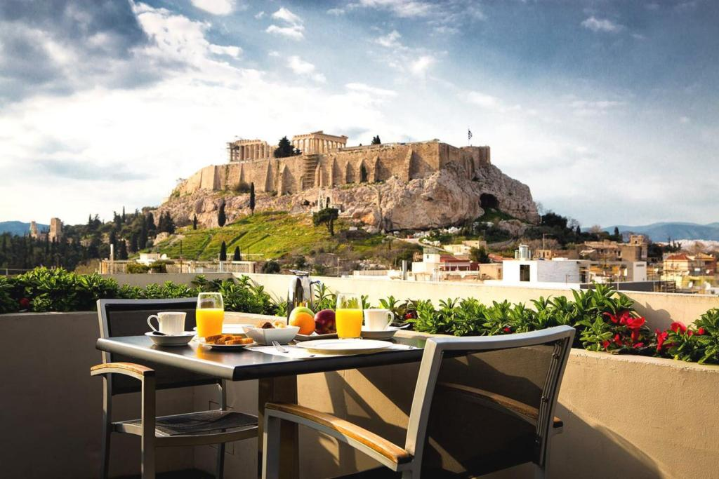 breakfast at the terrace of Athens Gate hotel with Acropolis view