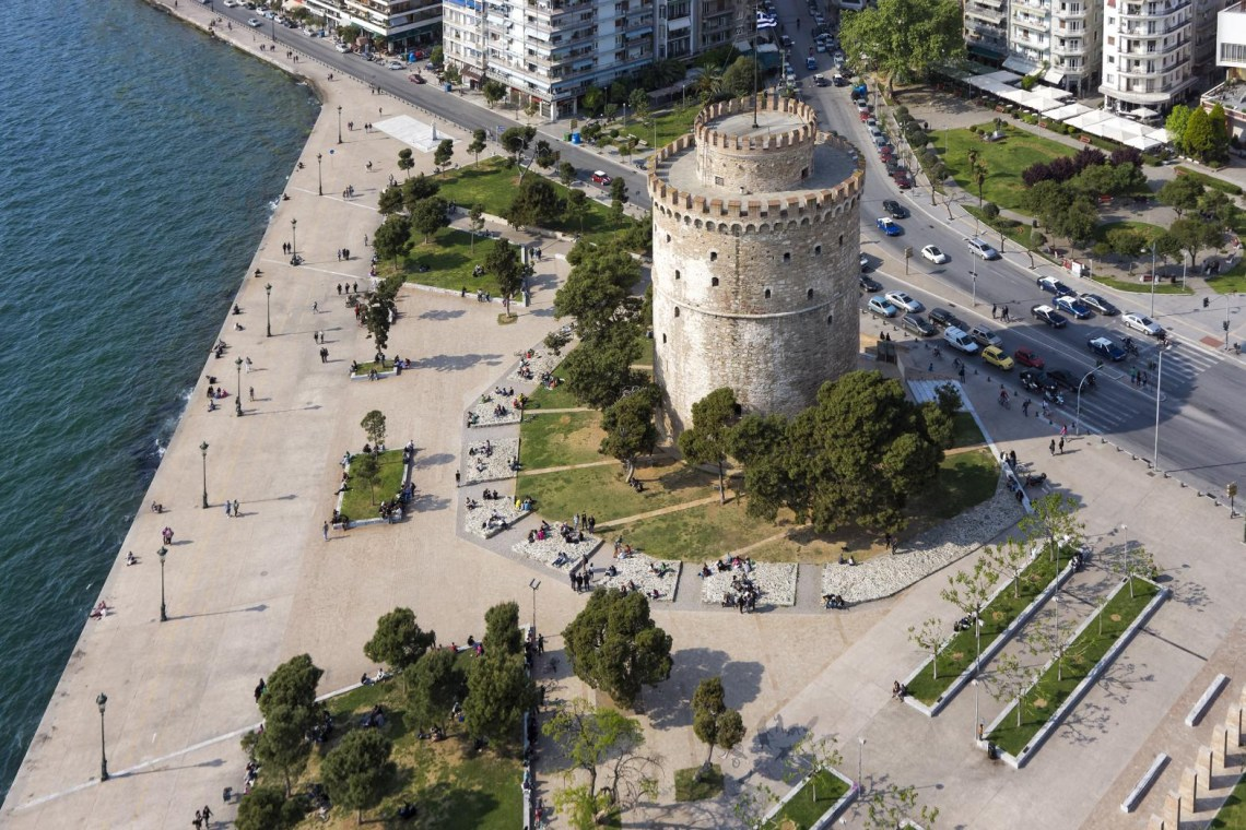 White tower and pier Thessaloniki