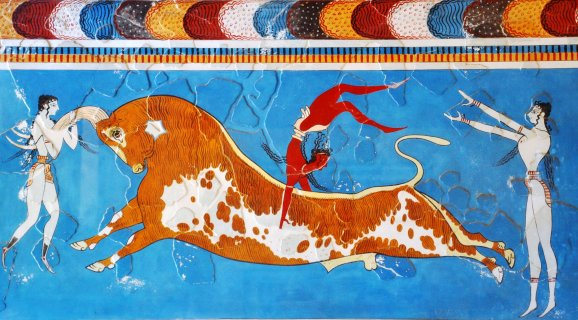 Bull leaping fresco taurokathapsia Knossos family guided tour kids love greece Crete Percy Jackson Mythology Family Trip 7-day Package activities for families