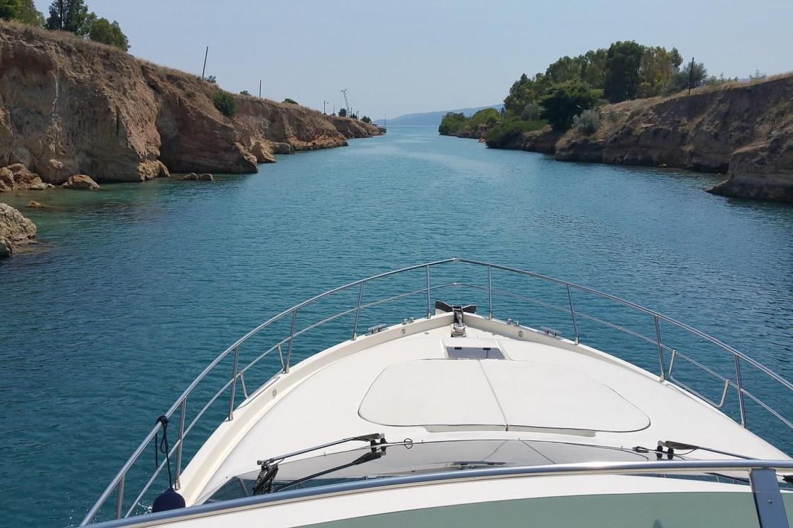 Corinth canal boat KidsLoveGreece.com