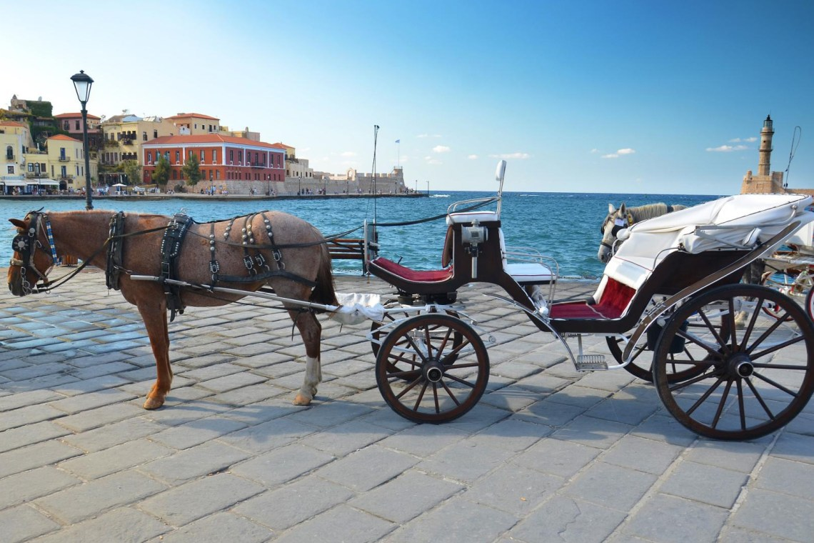 Chania harbour horse carriage