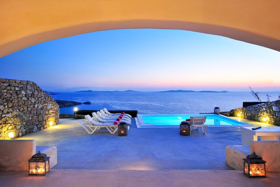 modern family summer house in Mykonos island Delos view one Agios Stefanos traditional village Cyclades kids love greece accommodation