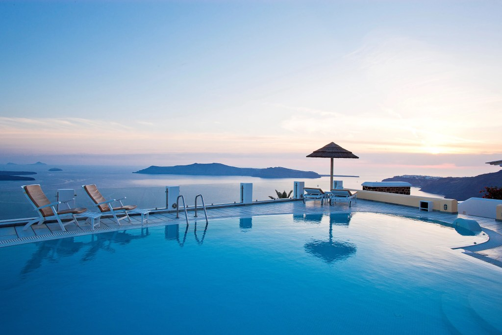 SantoriniPrincessSpa luxury accommodation Cyclades island greece kidslovegreece sunset Santorini family holidays Imerovigli