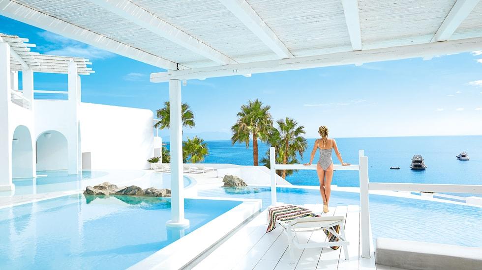The Mykonos Blu Grecotel Exclusive Resort Hotel luxury high standards Cyclades Greece families kidslovegreece Psarou private beach greek islands best accommodation