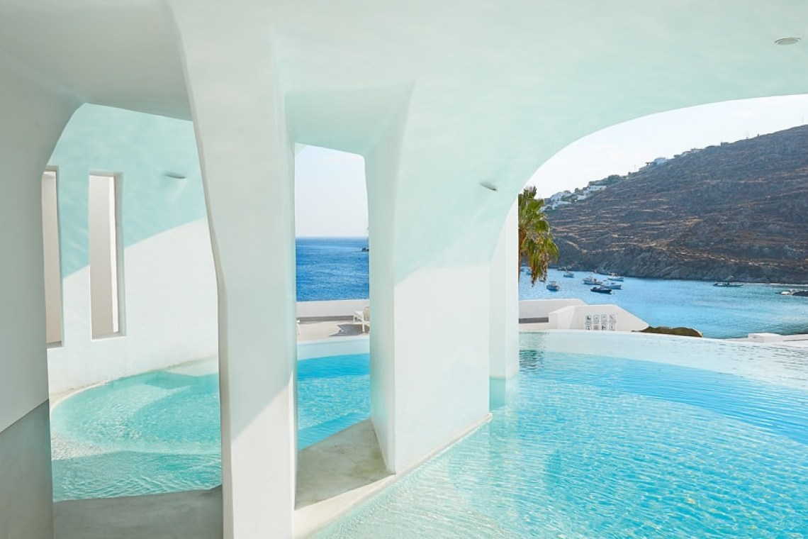 The Mykonos Blu Grecotel Exclusive Resort Hotel best accommodation luxury high standards Cyclades families kidslovegreece Psarou private beach greek islands Greece