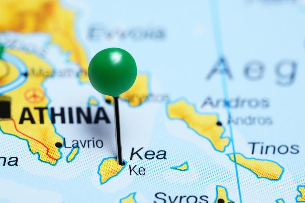 Kea island map with pin