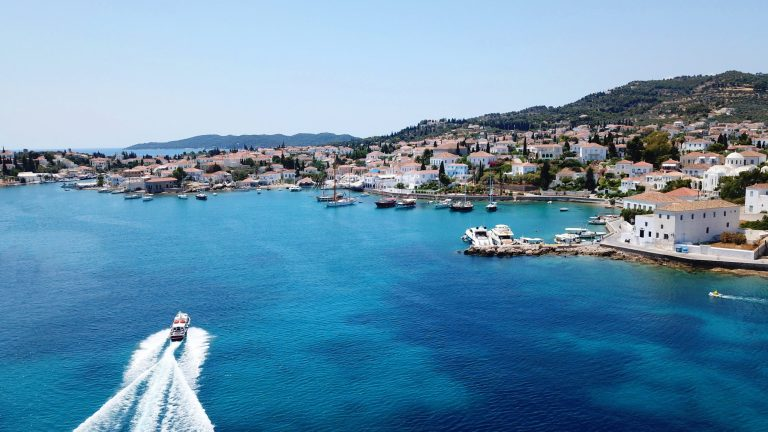 A drone shot of the port and village in Spetses