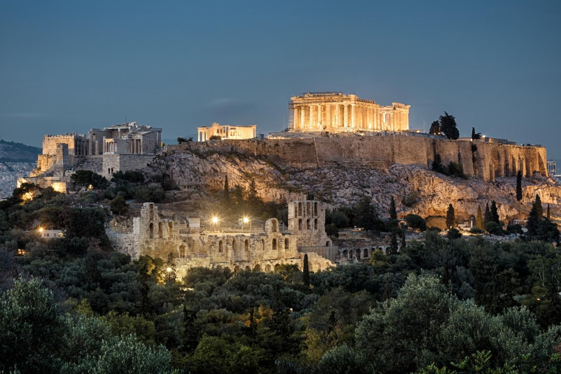 Acropolis hill night view Athens