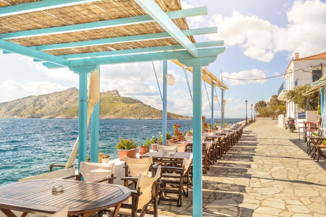 Aegina island tavern next to sea