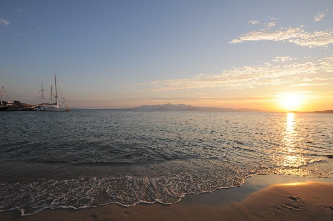 Naxos beach and sunset