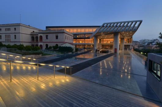 Acropolis museum entrance at night