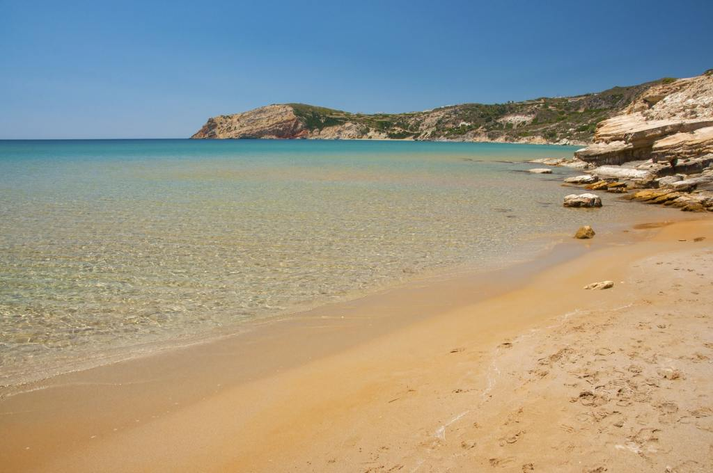 Crystal clear waters of Provatas beach at Milos island in Greece DP-min