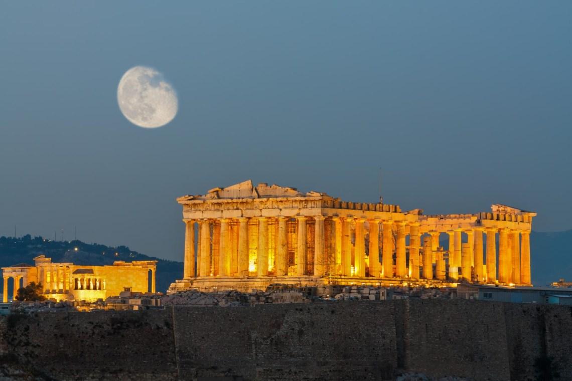 Acropolis Parthenon fullmoon