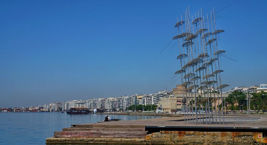 The famous umbrella art piece along the Thessaloniki coastline