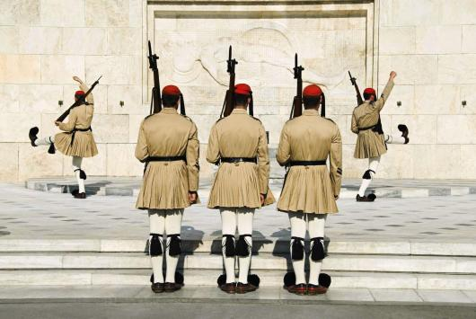 evzones soldiers in Syntagma square