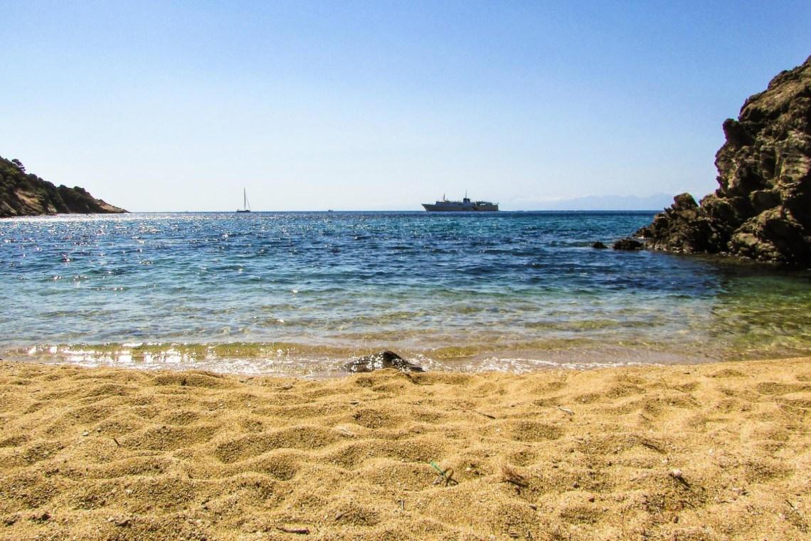 Skiathos sandy beach boat greece