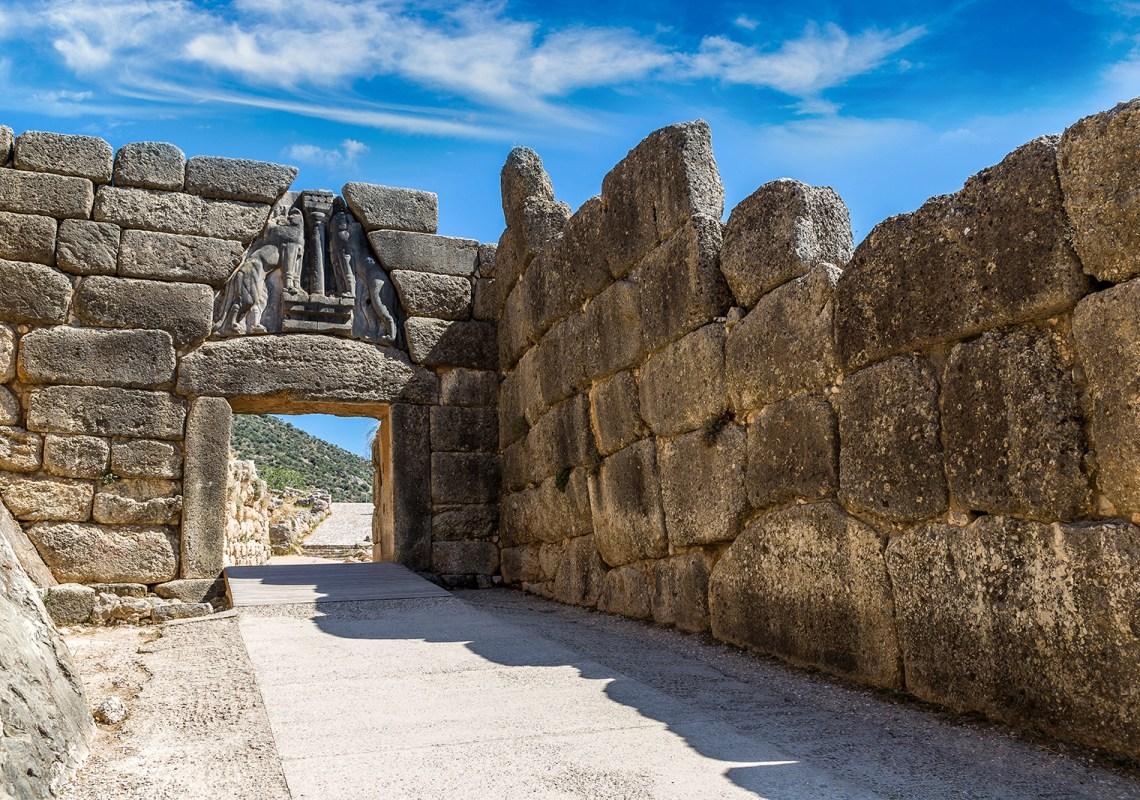 Lion Gate in Mycenae, Greece in a summer day