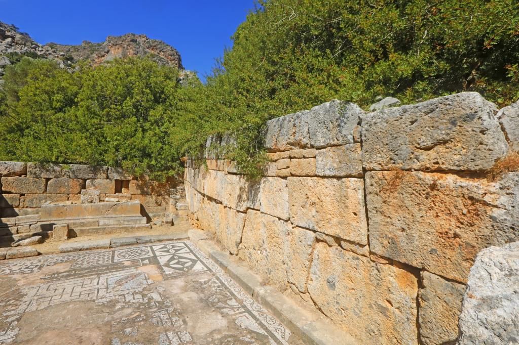 Like an old and lost mysterious lost city, the ancient Greek ruins of Lissos (near Sougia) in Crete Island, Greece DP-min