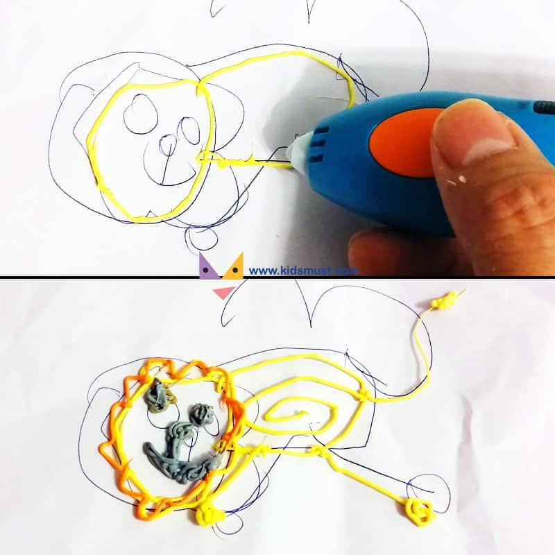 KidsMust弟弟測試員首先在白紙上繪畫了一隻他最愛的獅子,KidsMust爸爸測試員便著手把獅子勾劃出來