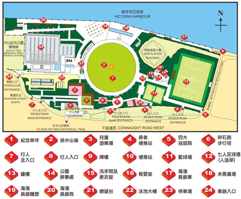中山紀念公園兒童遊樂場地圖