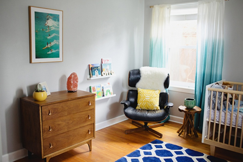 Calm And Eclectic Nursery With Surf Themed Elements
