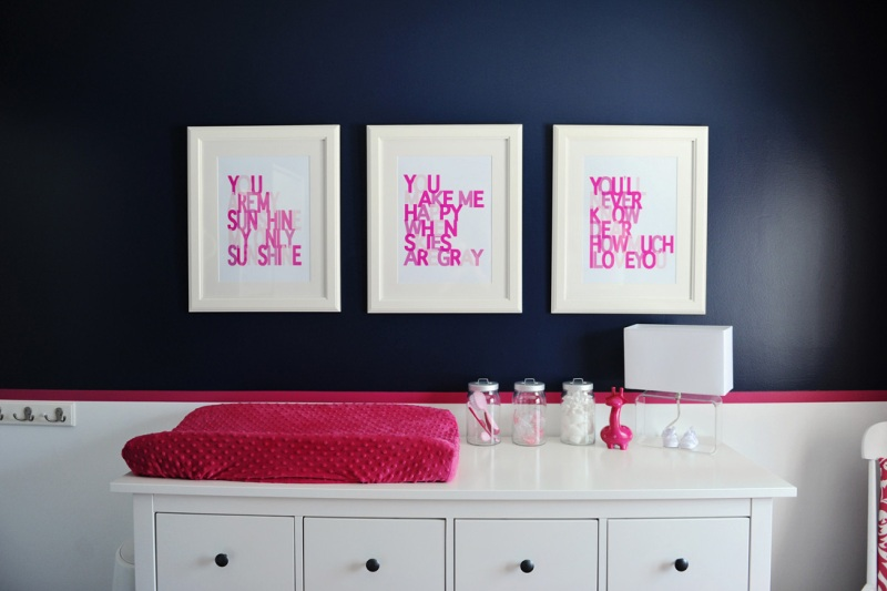 Chic Navy Pink And White Baby Girl Nursery  Kidsomania