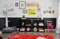 Colorful Playroom Design With Chalkboard Walls