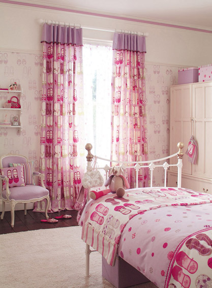 Pink Curtain For Girls Bedroom Arched Curtain Rod Tie Back