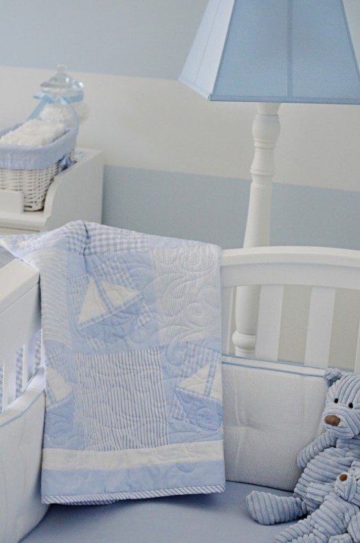 Lovely Powder Blue And White Nautical Baby Boys Nursery