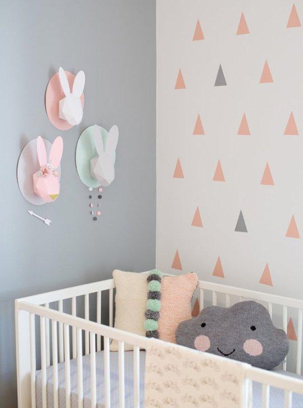 Modern And Cozy Baby Girl Nursery With Trendy Triangles Decor  Kidsomania