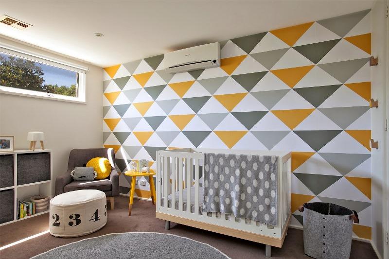Baby Girl Nursery Pink Wallpaper Modern And Stylish Yellow And Grey Kid S Nursery Design