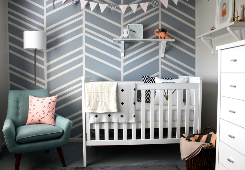 Modern Baby Girl Nursery With A Graphic Accent Wall  Kidsomania