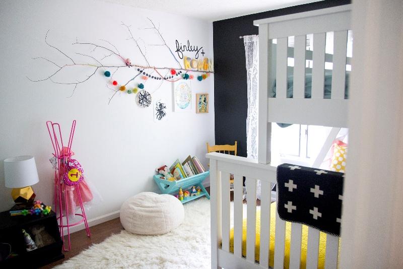 neutral shared girls bedroom