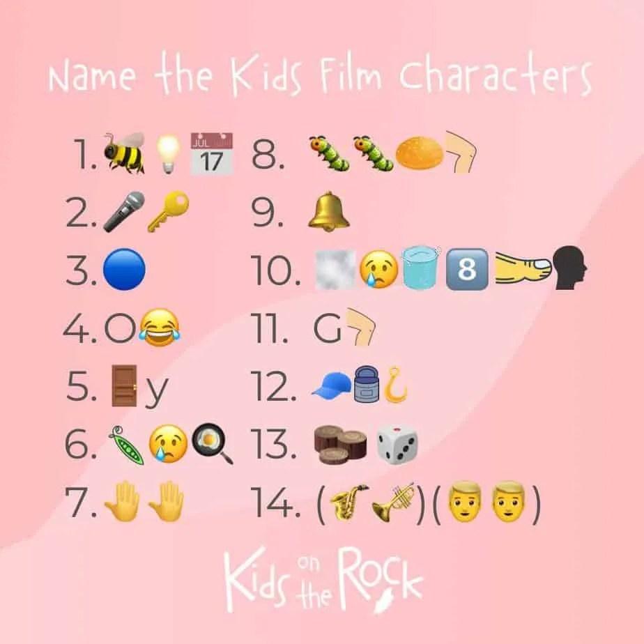 Name the Kids Film Characters - emoji quiz