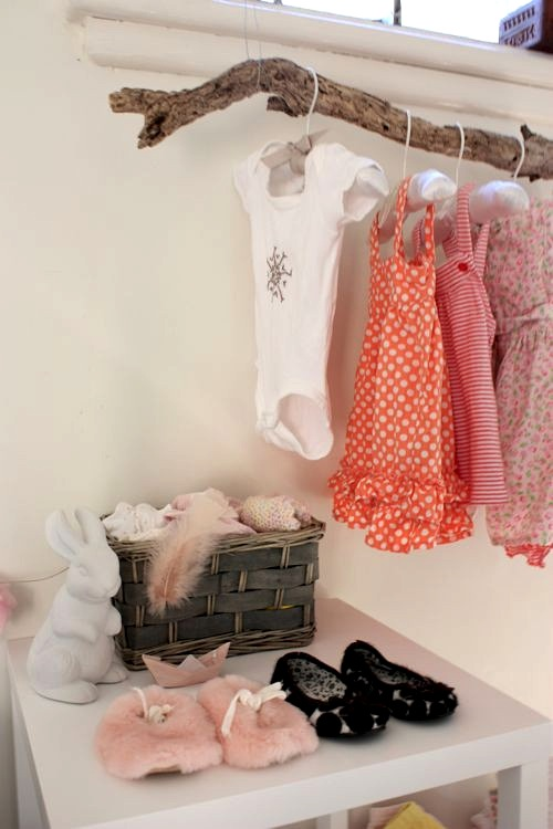 branch closet rod for infant clothes storage idea