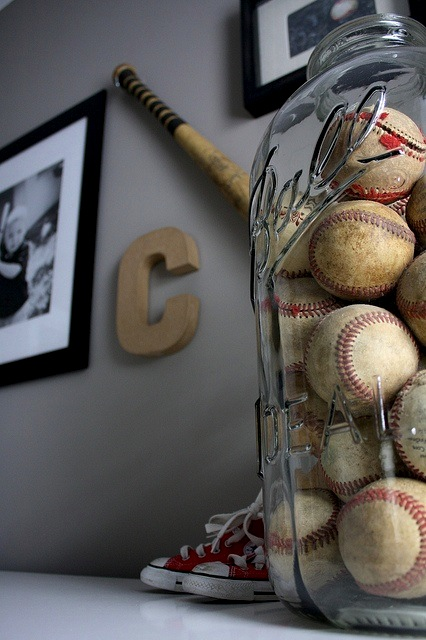 Baseball Decor Interior Design Mason Jar Baseballs Collection Balls Display Converse Baseball Bat Photos Gallery Wall Old Baseballs Antique Ball Jar Glass C