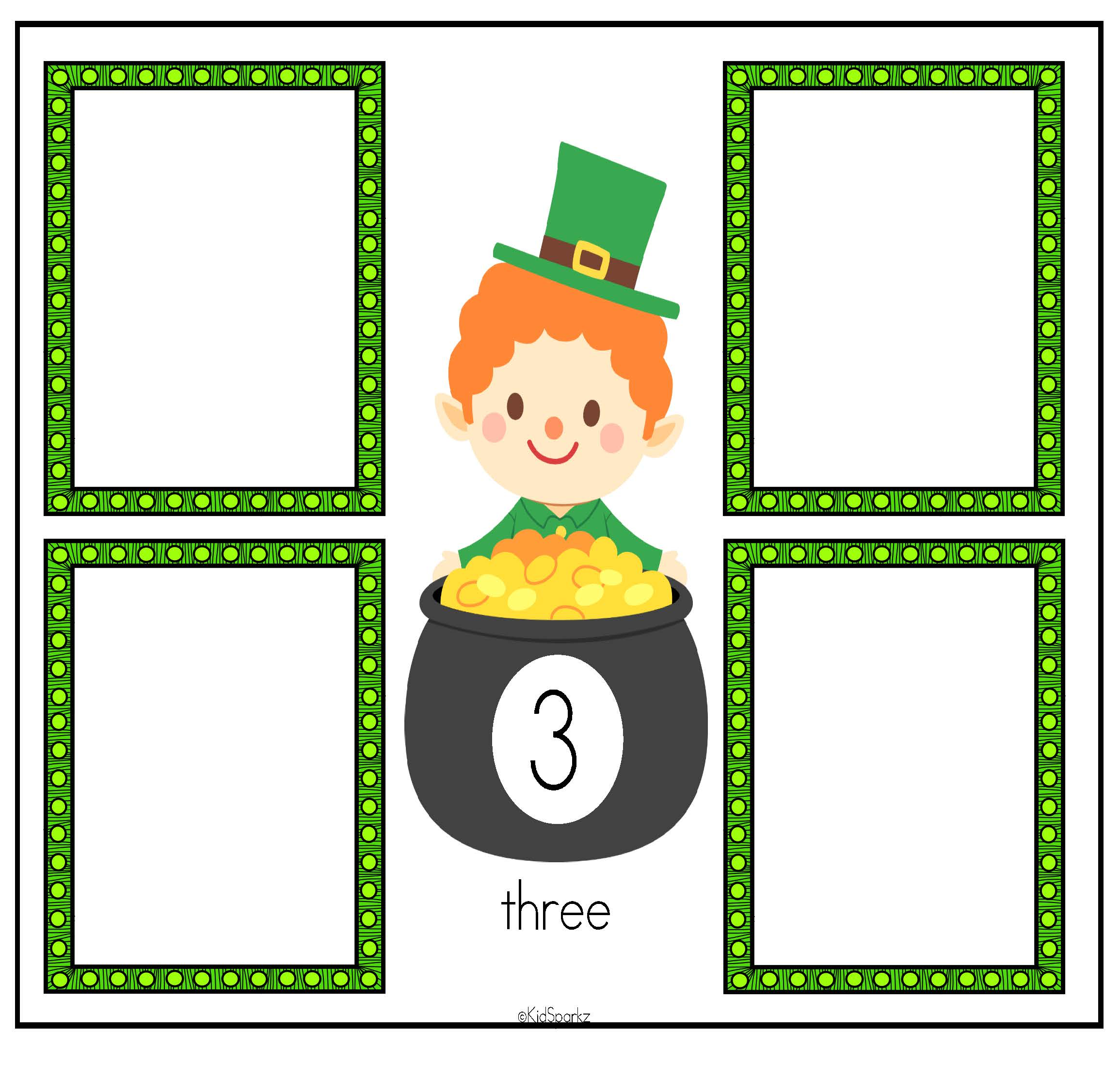 St Patrick S Day Leprechaun Number Mats Center 0 12 Preschool And Kindergarten