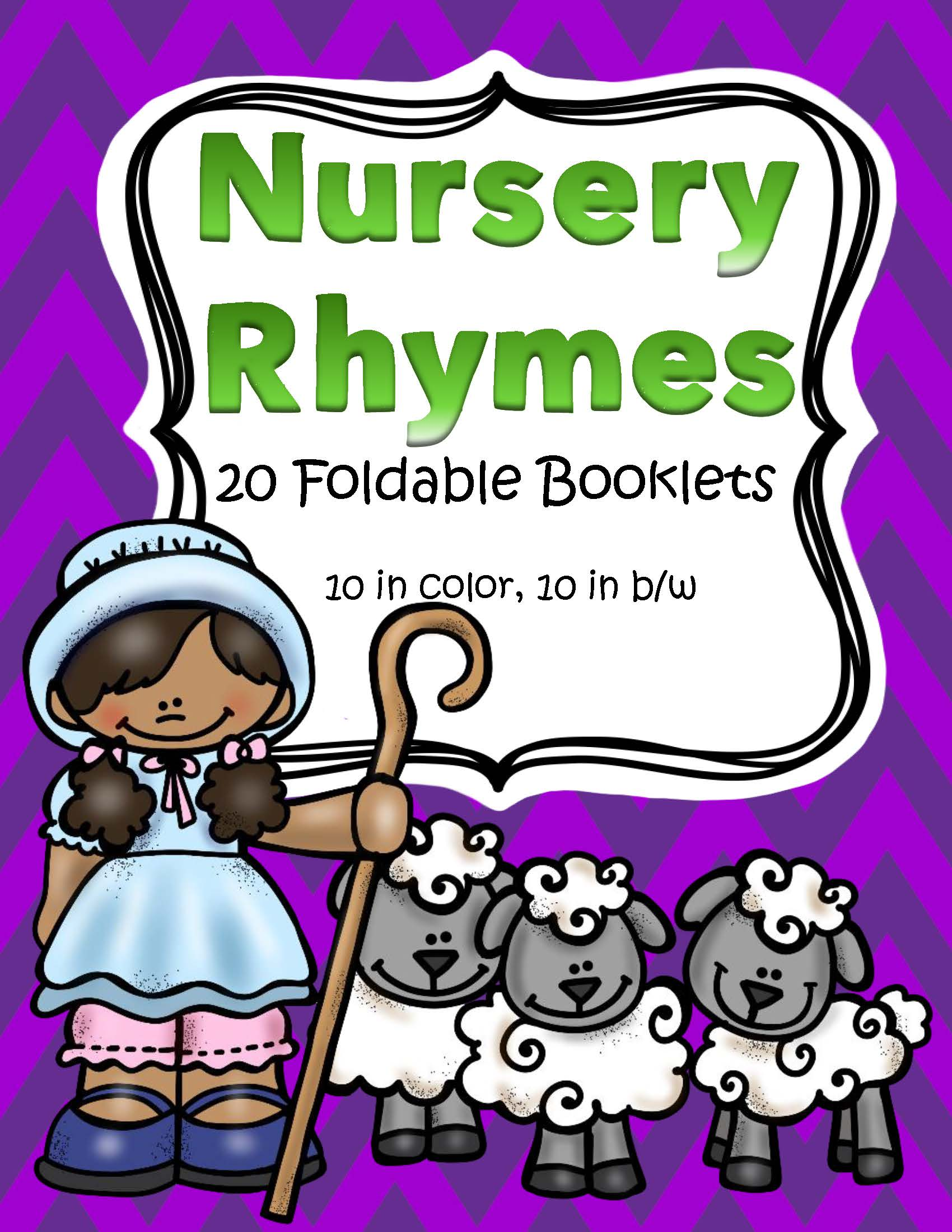 Nursery Rhymes Foldable Booklets In Color And B W
