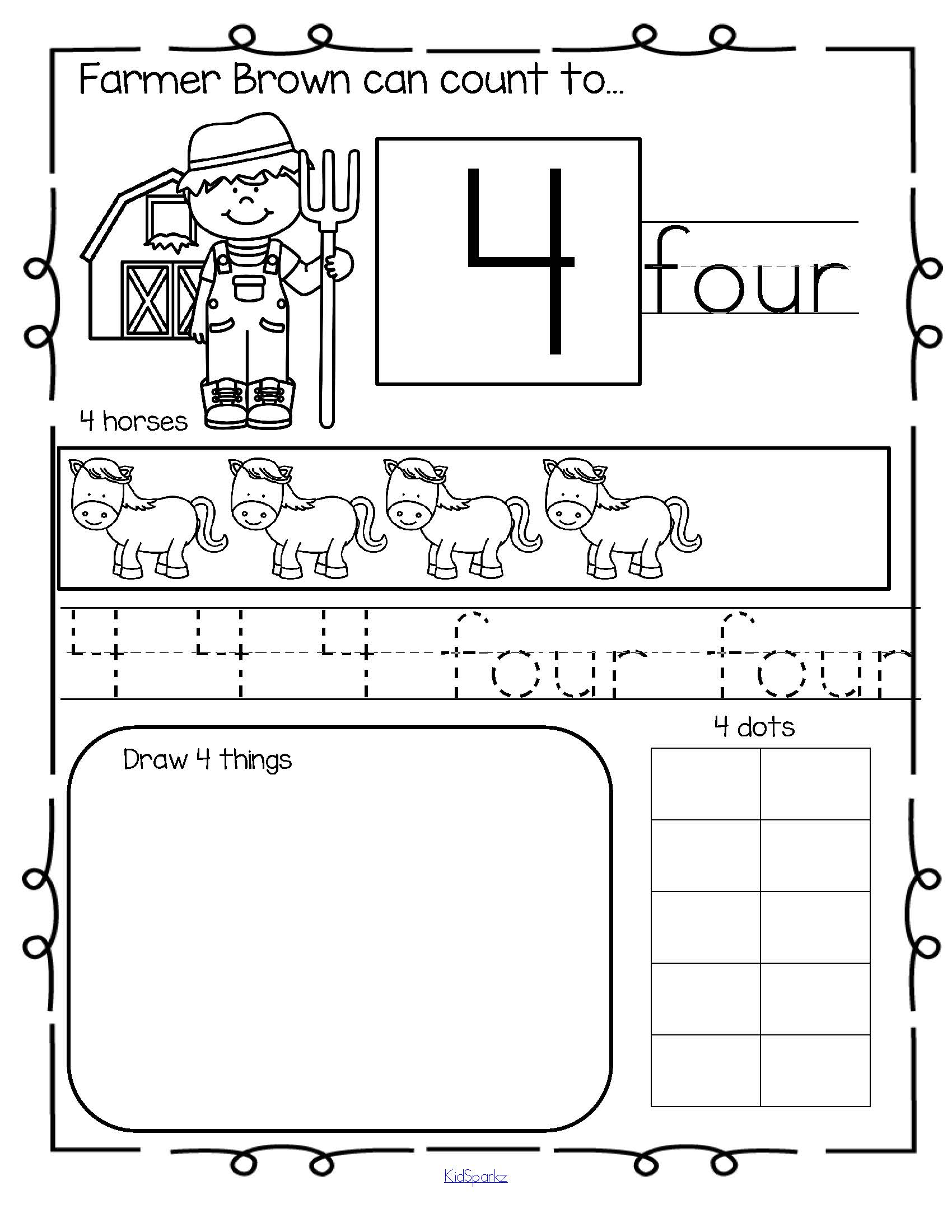 Farm Number Practice Printables