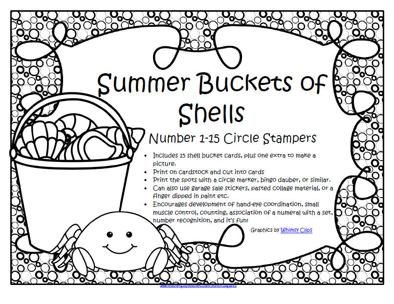 SUMMER BUCKETS of SHELLS Circle Stampers 1-15 Numbers