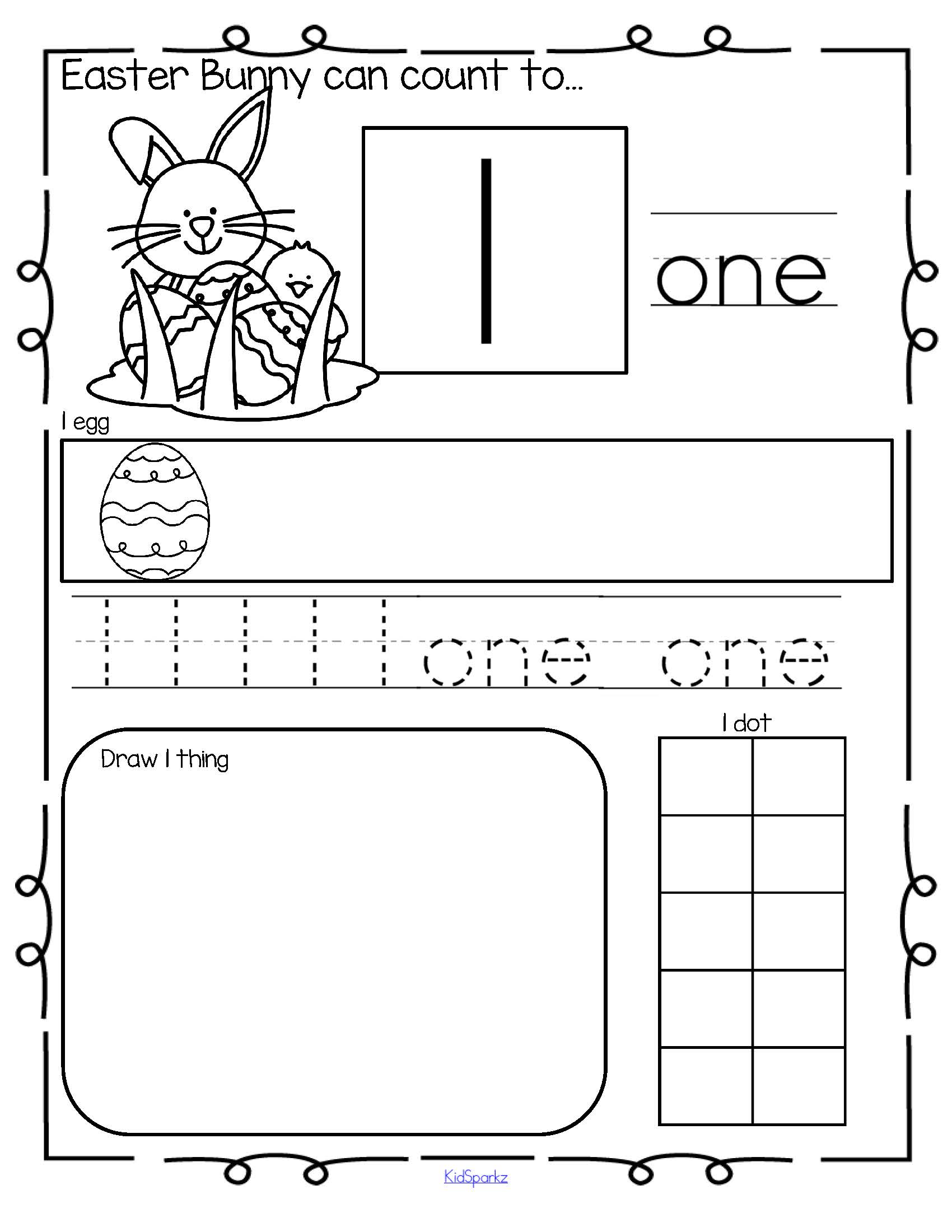 Easter Bunny Theme Number Practice Printables 1 20