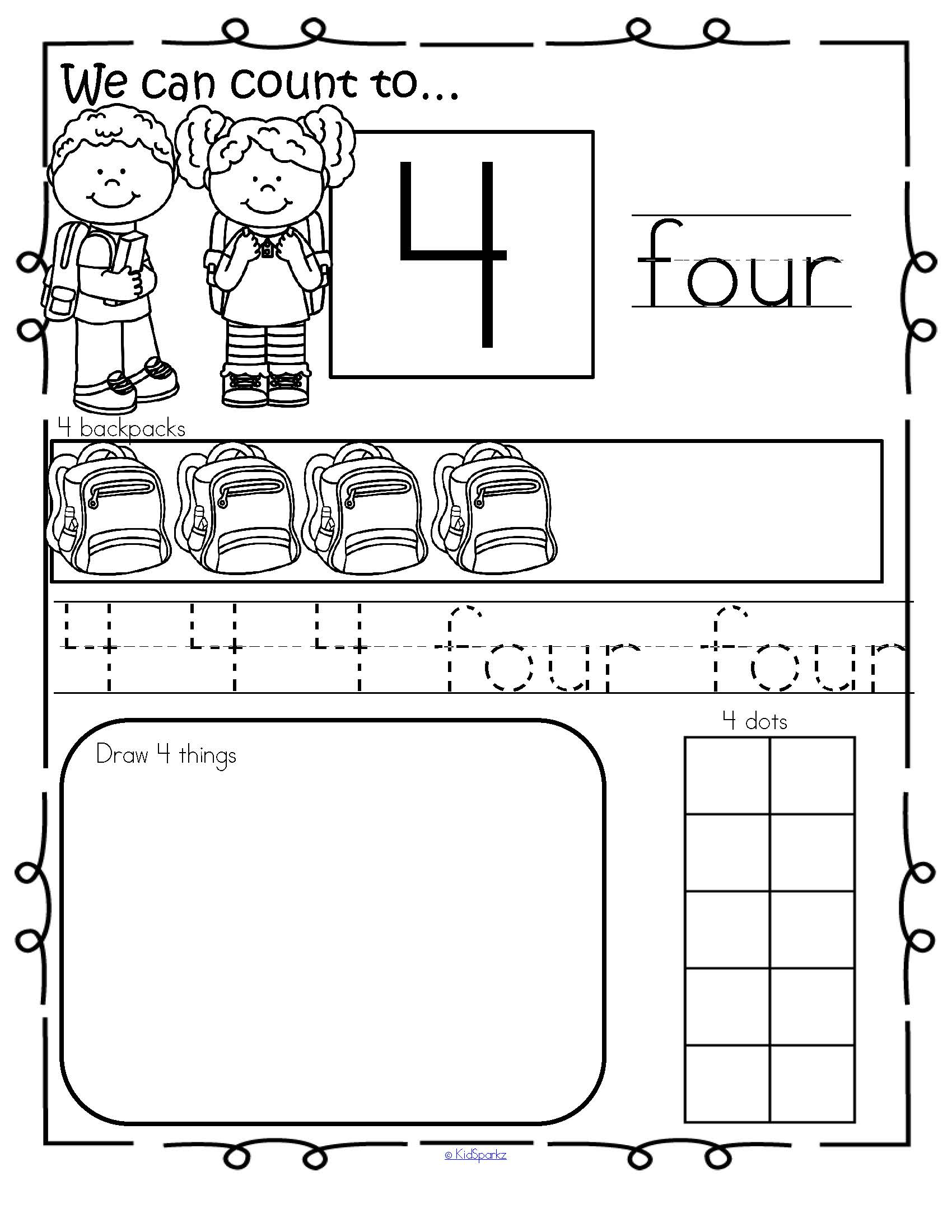 Back To School Theme Number Practice Printables 1 20