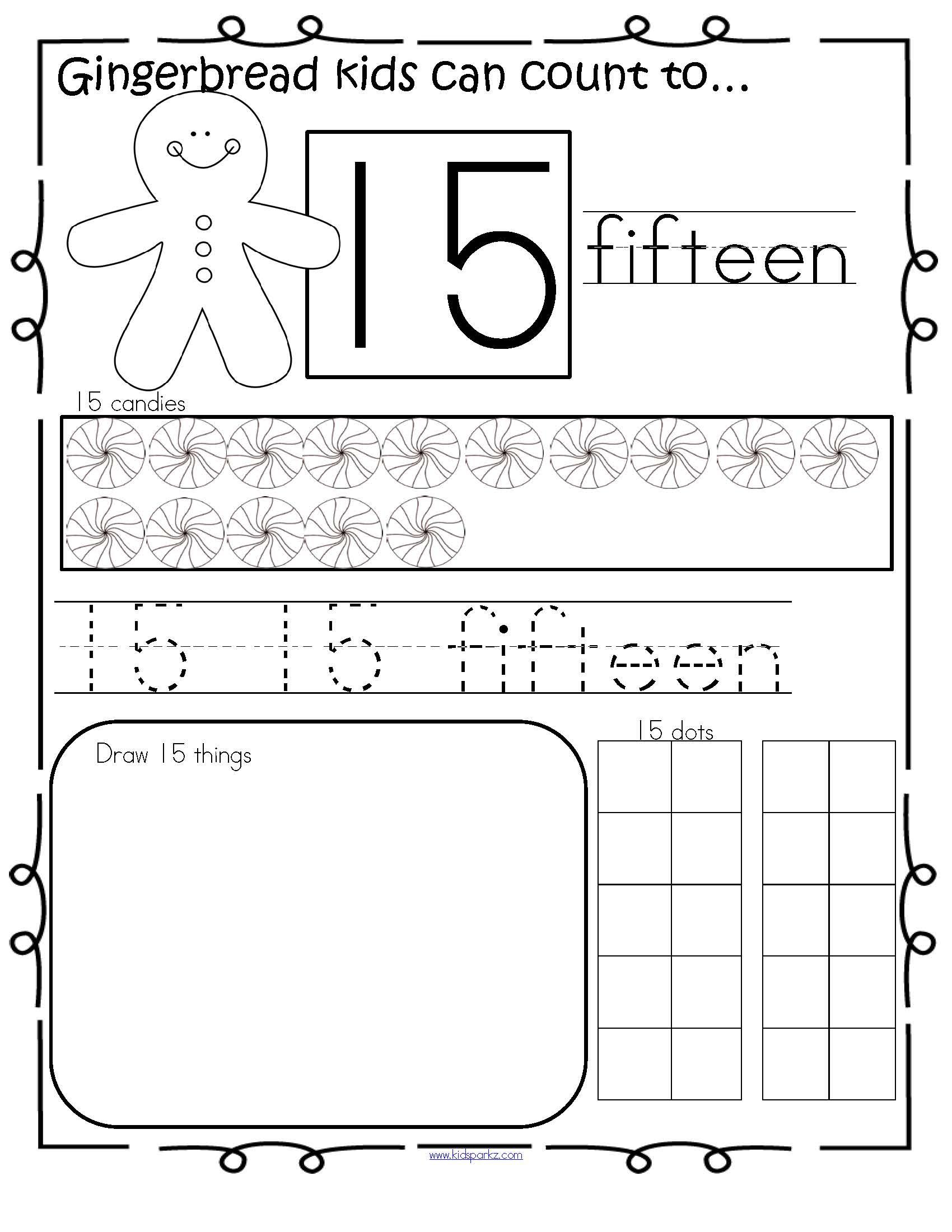Gingerbread Kids Number Practice Printables