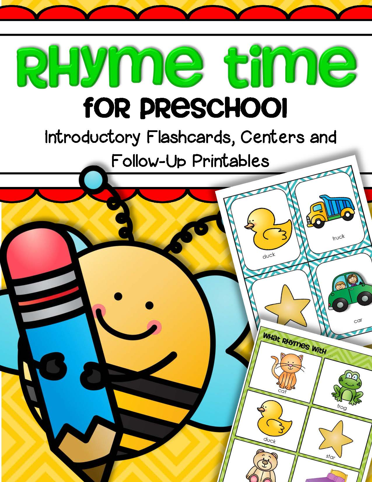 Rhyme Time For Preschool Introductory Flashcards Centers And Follow Up Printables